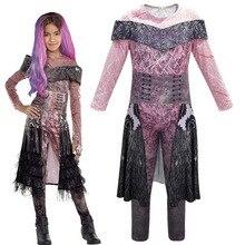 Niños Descendants 3 Halloween 2019 Mal Bertha Cosplay de maléfica disfraz niñas Halloween actuación de fiesta ropa 3D vestido