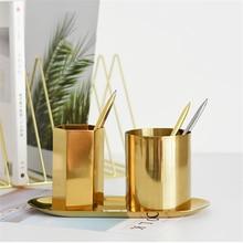 Nordic Metal Round Pen Holder Makeup Brush Storage vase Tube Household Storage Box  Brush Storage Home Organizer