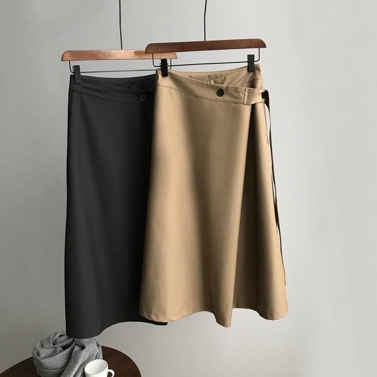2020 primavera mujeres Faldas Harajuku Faldas cintura alta Falda larga cinturón Dedign mujeres Falda larga Jupe Femme Faldas coreanas Saia Midi