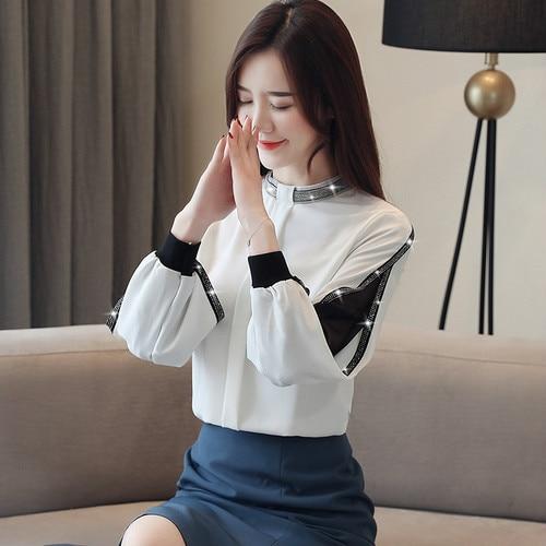 Фото - Женская шифоновая блузка со стразами, элегантная ажурная сетчатая блузка с воротником-стойкой, весна-осень 2020 тенсельная блузка со стиркой