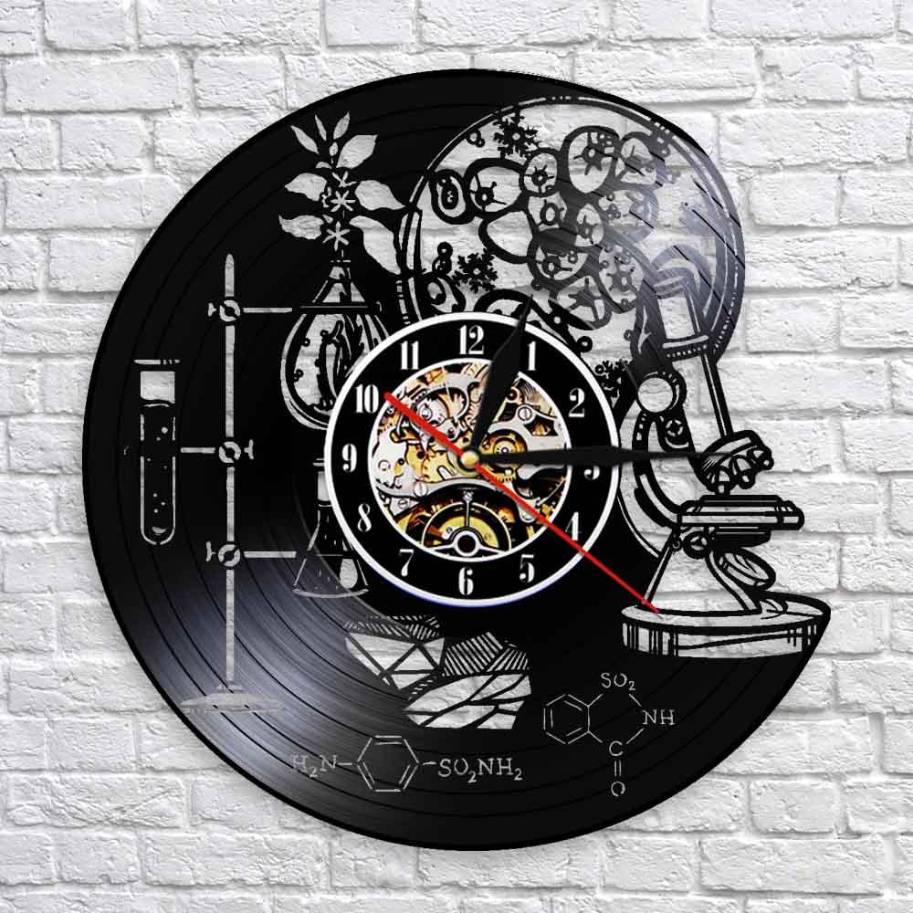Biologie Chemie Wissenschaft Instrument Wanduhr Sauerstoff Molekül Chemische Formel Wand Art Decor Vinyl Rekord Wanduhren