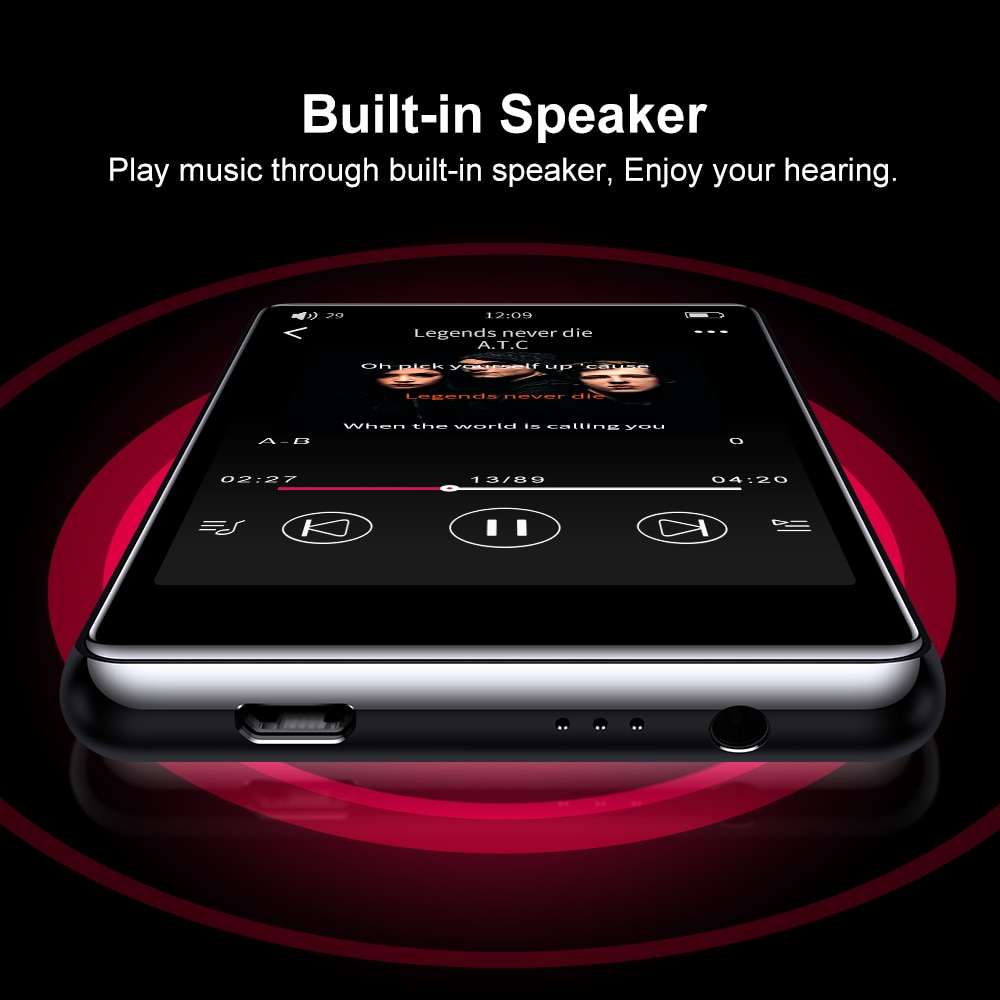 IQQ Newest Support Bluetooth MP3 Player with High Resolution and Full Touch Screen Built-in Speaker HiFi Lossless Sound Player enlarge