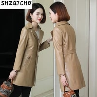 shzq 2021 new autumn sheepskin coat coat leather coat womens medium and long slim leather windbreaker