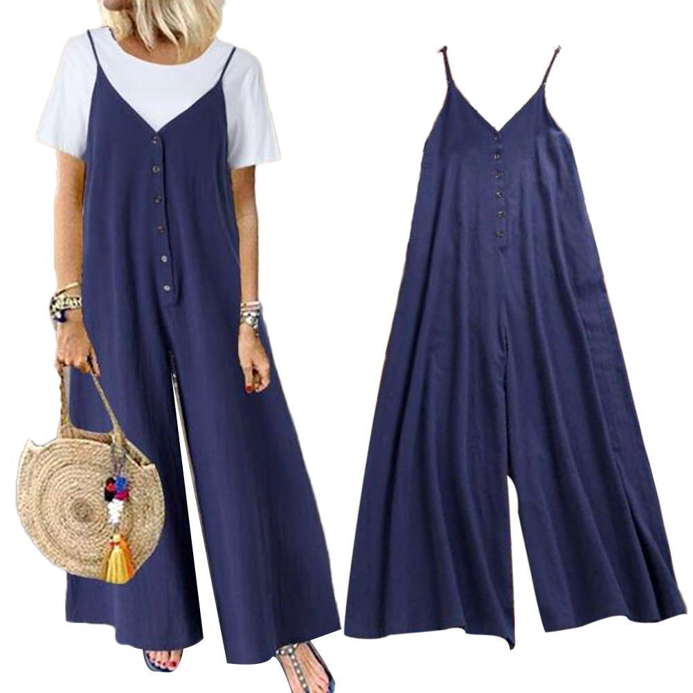 Women Solid Color Suspender Trousers Single-breasted Pockets Jumpsuit Overall Wholesale
