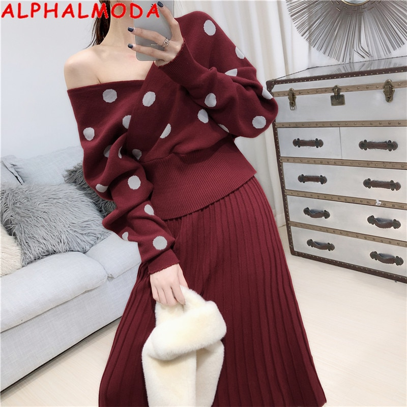 ALPHALMODA 2019 zima nowe Polka Dot dzianinowe spódnice sweter kombinezon V-neck rękaw nietoperz kobiety modny sweter + plisowana spódnica zestaw do szydełkowania