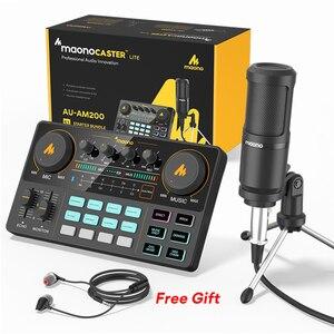 MAONOCASTER AM200-S1 все-в-на микрофон микшер набор звуковая карта аудио подкастер с конденсаторным микрофоном и наушниками для ПК телефона Tiktok