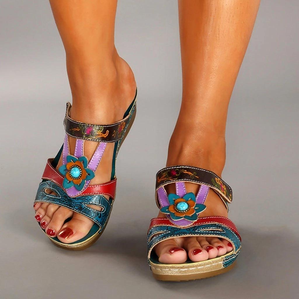 new summer sandals women ethnic wind flower retro bohemian fashion casual wedges open toe beach ladies plus size sandals new