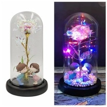 AValentine's Day Wedding Anniversary Party Artificial Flower Rose Flower With LED String Light In Glass Dome On Wooden Base For