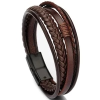 trendy genuine leather bracelets men stainless steel multilayer braided rope bracelets for male female bracelets jewelry
