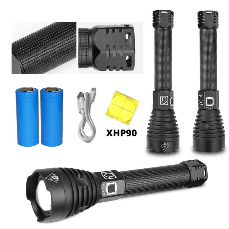 Más poderoso XHP90 linterna led con Zoom antorcha táctica xhp70 XHP50 18650 o 26650 batería recargable usb handlight P90 P70 P50
