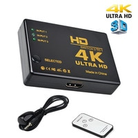 3-в-1 HDMI-совместимый видеопереключатель сплиттер 4K * 2K UHD 1080P 3-портовый селектор 3x1 с пультом дистанционного управления для PS3 PS4 PC HDTV