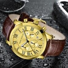 MINI FOCUS Mens Watch Quartz Leather Calendar Waterproof Wristwatch Male Dress Watches for Men Luxur