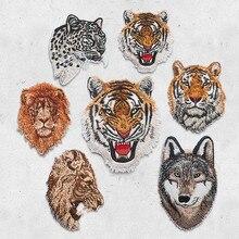 Autocollant léopard tigre Lion loup brodé   Patchs pour vêtements, appliques bricolage, chapeau manteau, accessoires pour robe, autocollant Animal en tissu