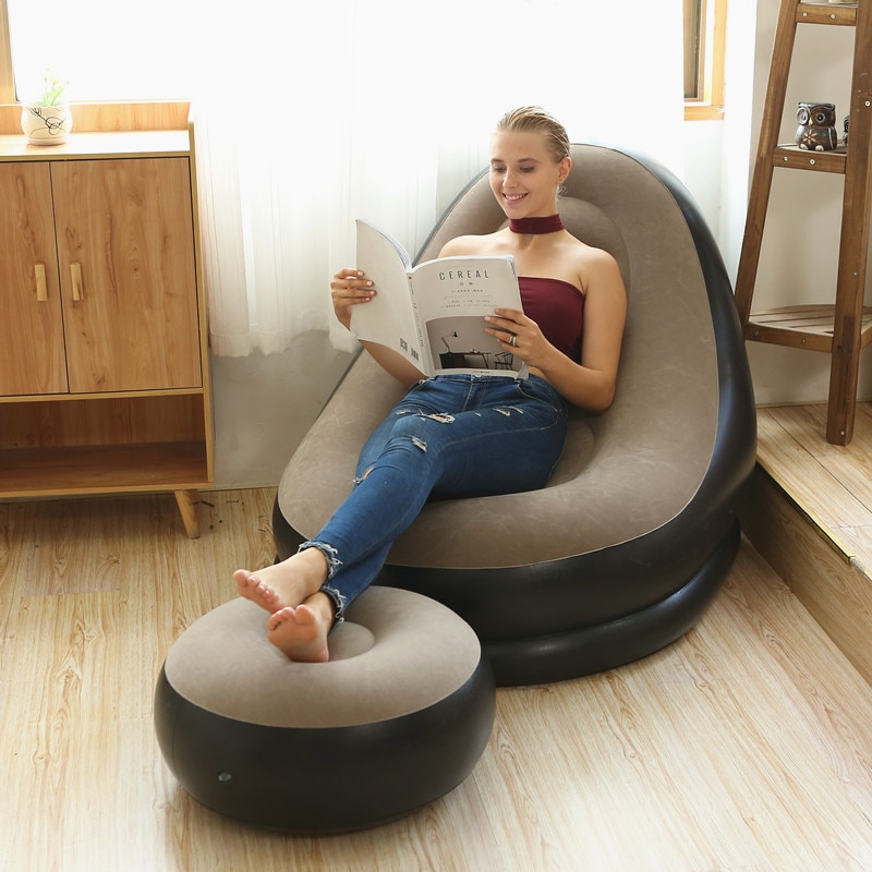 lazy inflatable bed home new air single two people both use black wave flocking bed factory creative home wholesale air soa beds JOYLOVE New Lazy Inflatable Sofa Folding Recliner Inflatable Sofa Bed With Pedal Cushion Flocking Sofa Couch Wholesale