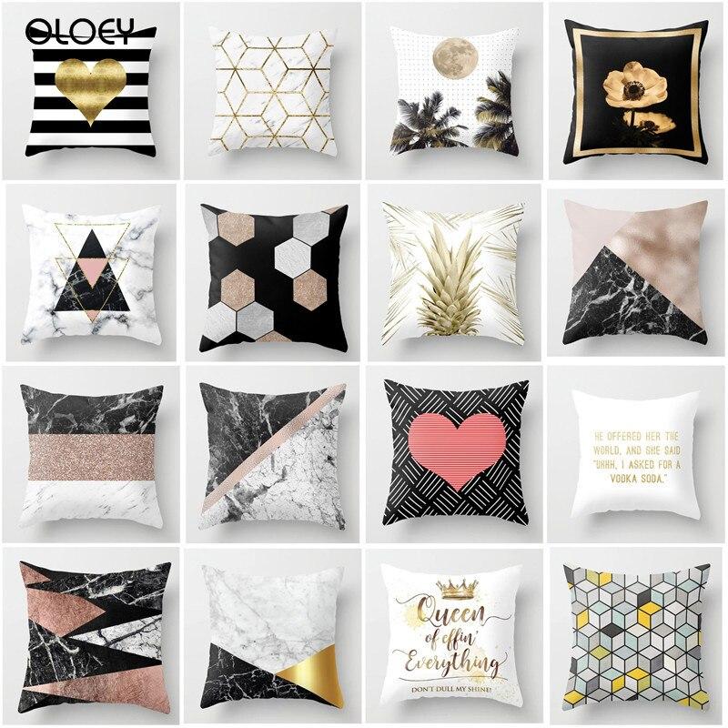 Bronce almohada con el poliéster geométrico impresión hogar Decoración almohada casos Hotel Coupe cama decorativo respaldo almohada
