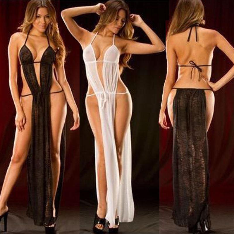 Porno Sexy Women Lingerie Long Dress Hot Erotic Bath Robe Lace Babydoll Sleepwear Underwear Sexy Nightgowns Black White