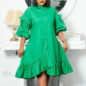 Women Loose Dresses Irregular Length Button Up Plus Size Ladies Female Knee Length Office Ladies Casual Fashion African Vestidos