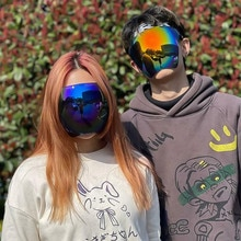2021 Novelty Full-Face Multicolor Goggles with Removable Nose Bridge Polarized Large Mirror Sunglass