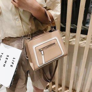 Summer new pure color Pu fashion trend small square bag Korean women's shoulder bag casual bag