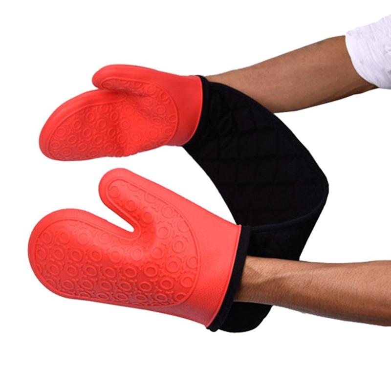 Guantes de silicona para horno con forro de algodón acolchado Extra largo soporte profesional resistente al calor para ollas de cocina/guantes para cocinar a la parrilla