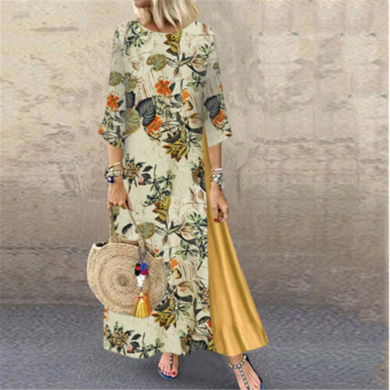 Womens Maxi Beach Dress 2019 Summer Half Sleeve Casual Boho Kaftan Tunic Gypsy Ethnic Style Floral Print Plus Size Dresses S-5XL