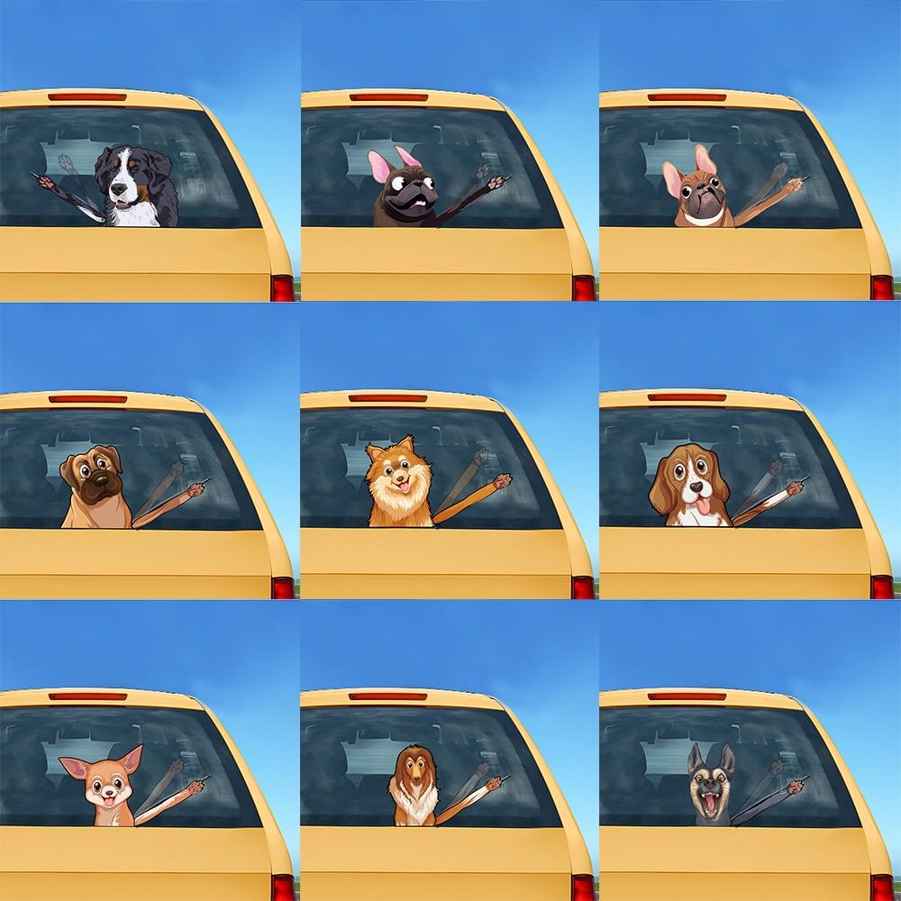 Tancredy pegatina con perro de dibujos animados, pegatina con cola móvil, pegatinas reflectantes para coche y pegatinas para limpiaparabrisas, pegatina para parabrisas