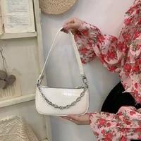 high quality pu leather women chain shoulder bags simple crocodile pattern ladies solid color baguette underarm bag female purse