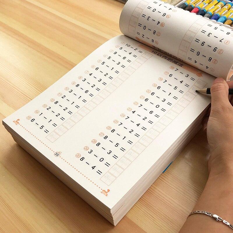 6 livros/conjunto crianças adição e subtração aprendizagem matemática pré-escolar matemática exercício livro escrita prática livros idade 3-6 ggif