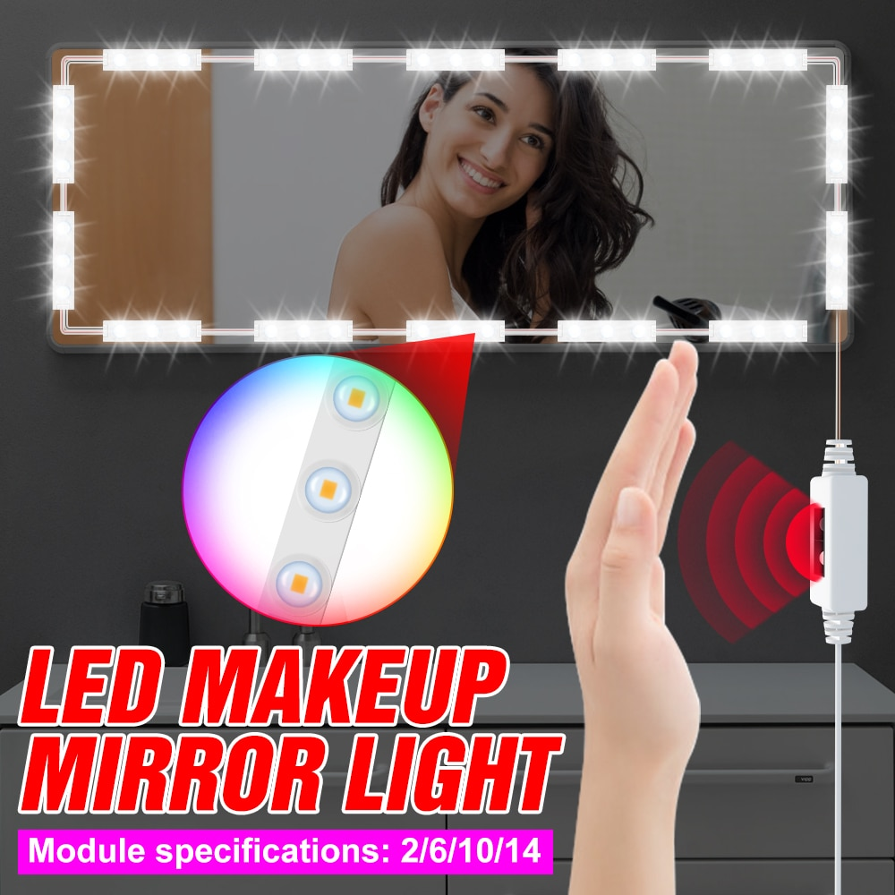 DC 5V LED Mirror Light USB Vanity Mirror Light 2 6 10 14 Modules Kit LED Makeup Lamp Hollywood Dressing Table Cosmetic Lights