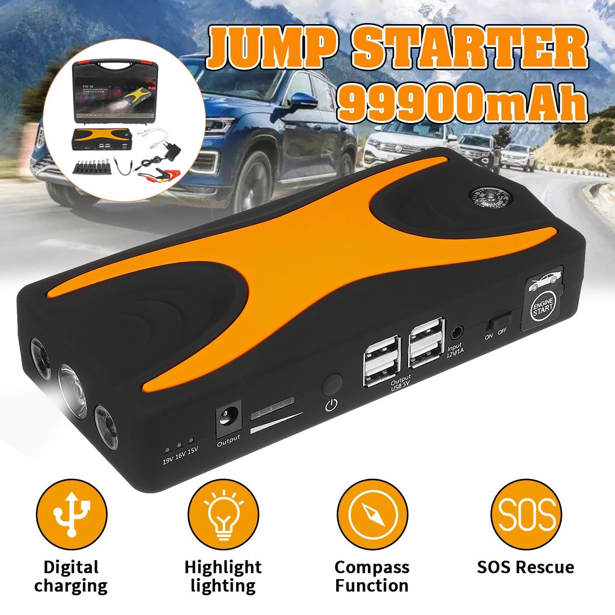 Carro ir para iniciantes 99900 mah 15 v 4usb 900a carregador de impulsionador de bateria de carro portátil banco de potência de emergência dispositivo partida