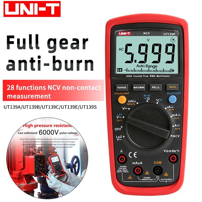 Multímetro digital UNI-T serie UT139, medidor de Valor Efectivo Rango automático, 6000...