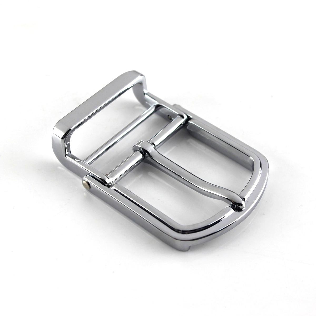 1pcs 35mm Metal Men/ Women's Belt Buckle Chrome Clip Buckle Rotatable Bottom Single Pin Half Buckle Leather Craft Belt Strap