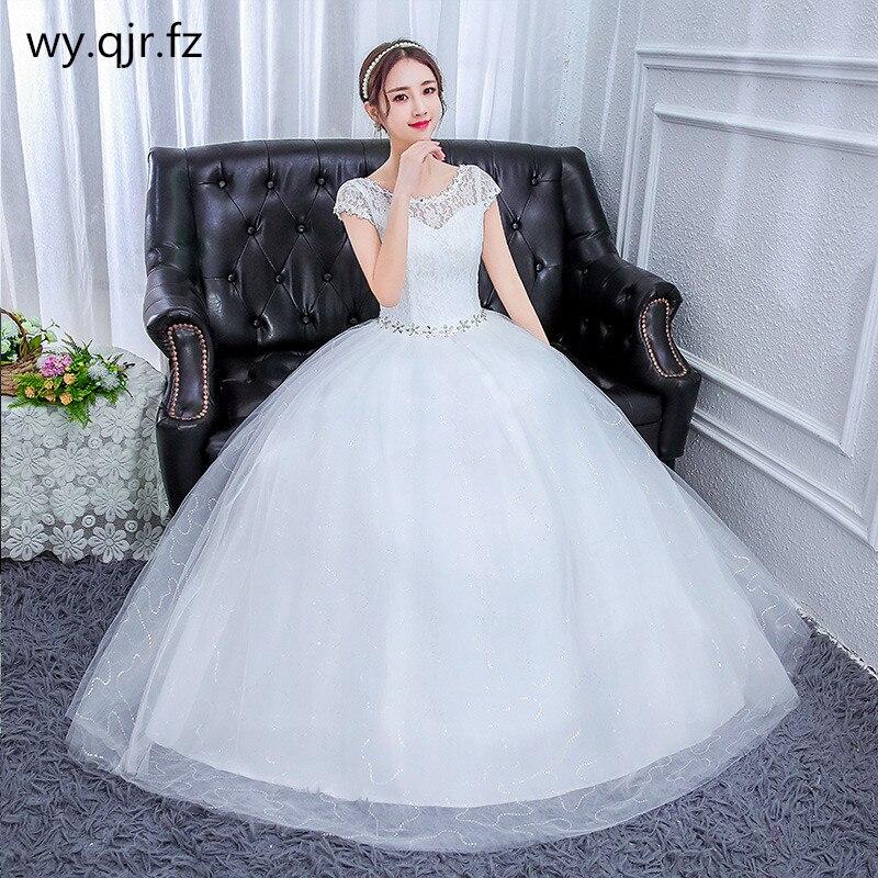 YC-587 # العروس فستان الزفاف الأبيض الطابق طول الراتنج الماس الكرة ثوب رخيصة بالجملة شحن مجاني في بعض البلدان زائد حجم