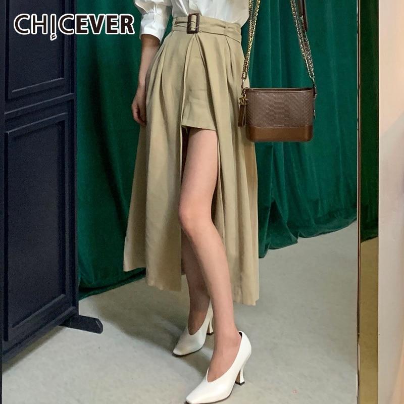 CHICEVER koreański spódnica vintage dla kobiet wysokiej talii z szarfami boczne rozcięcie spódnice midi odzież damska 2020 moda jesień nowy