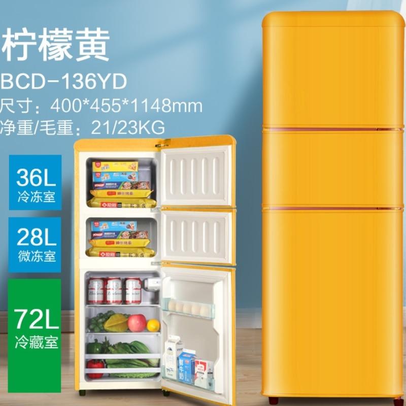 Refrigerador retrô com três portas, casa de ganso, dormitório de escritório de alta capacidade, congelador