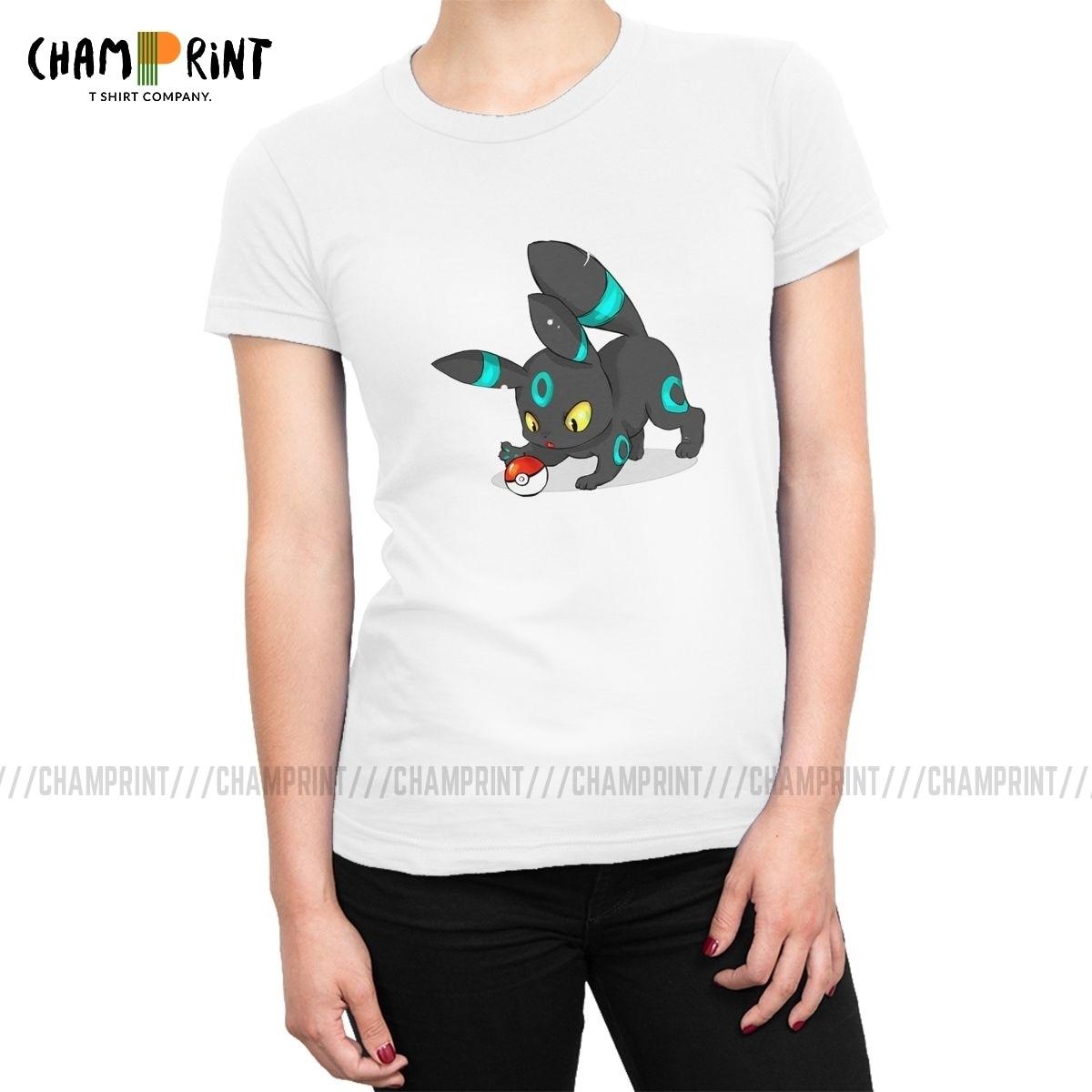 Brillante Umbreon Pokeball Pokemon Pikachu Anime T camisas de las mujeres de moda camisetas de cuello redondo Camiseta, Tops de verano, ropa mujer