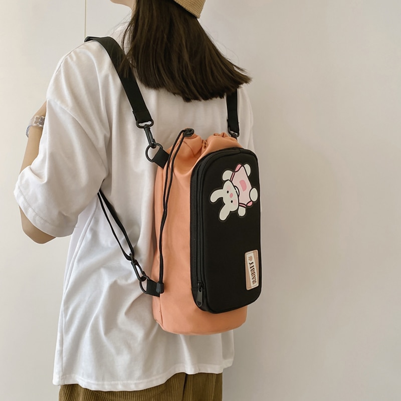 Маленький женский рюкзак Ins, Корейская сумка для женщин, многофункциональные дорожные сумки с насосным ведром для девочек, миниатюрные школьные ранцы с принтом