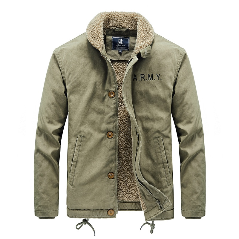 Faux Lamb Wool Short Jacket Men's Winter Thickened Fur Collar Plus Fleece Tooling Pilot Cotton Jacket Winter Jacket Men