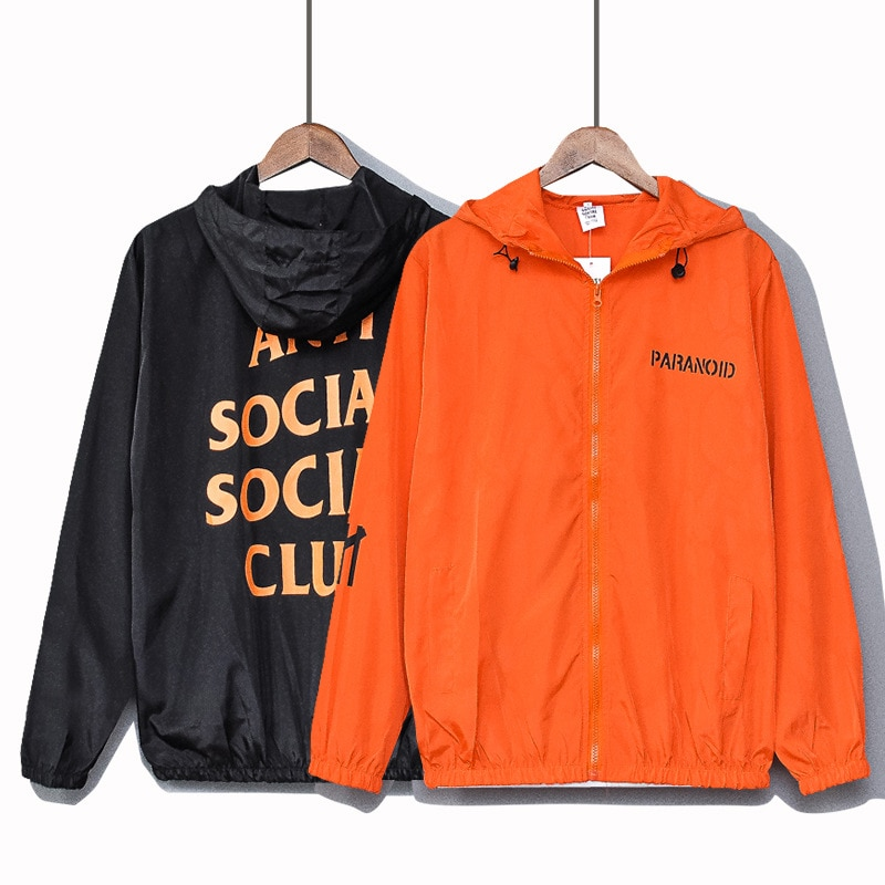 2021 couple's summer wear ASSC letter printed thin sunscreen clothes for boys and Girls Hooded Jacke