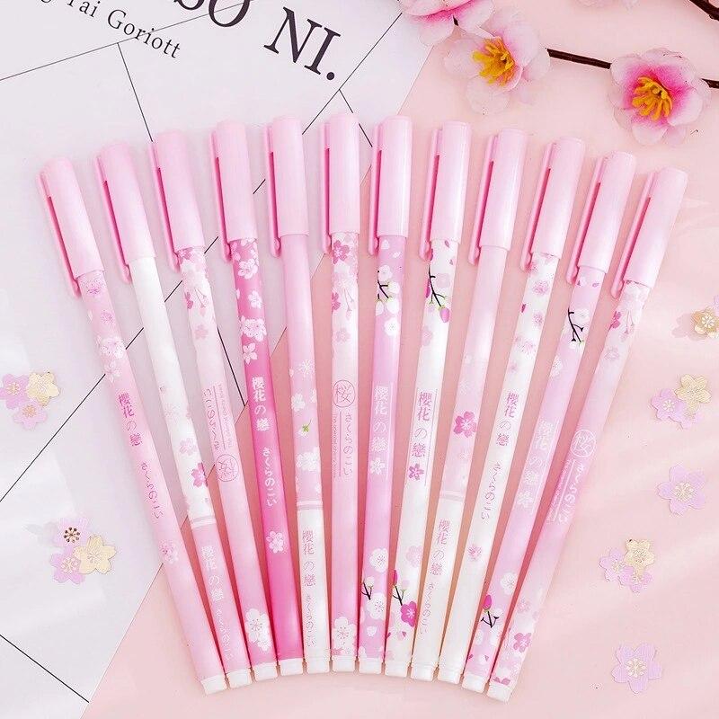 12 unids/lote Gel Pen Set flores de cerezo bolígrafo papelería Kawaii escuela herramientas de escritura de plástico de tinta bolígrafos para la escuela suministros de oficina