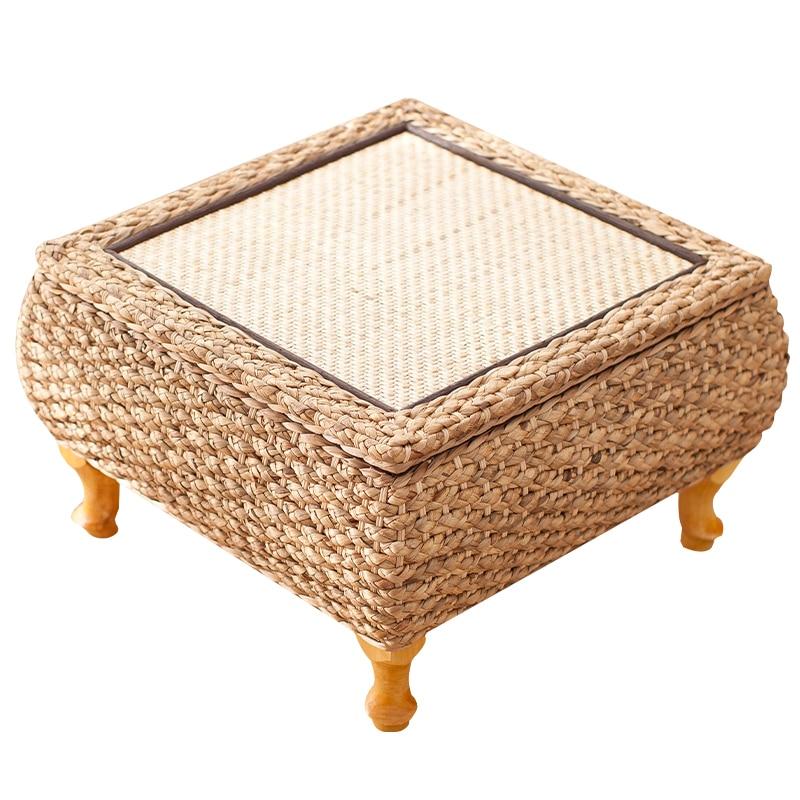 طاولة حديقة الروطان على الطريقة اليابانية ، مع كرسي ، 3 مجموعات ، طاولة شاي منخفضة ، للشرفة ، طاولة قهوة من القش