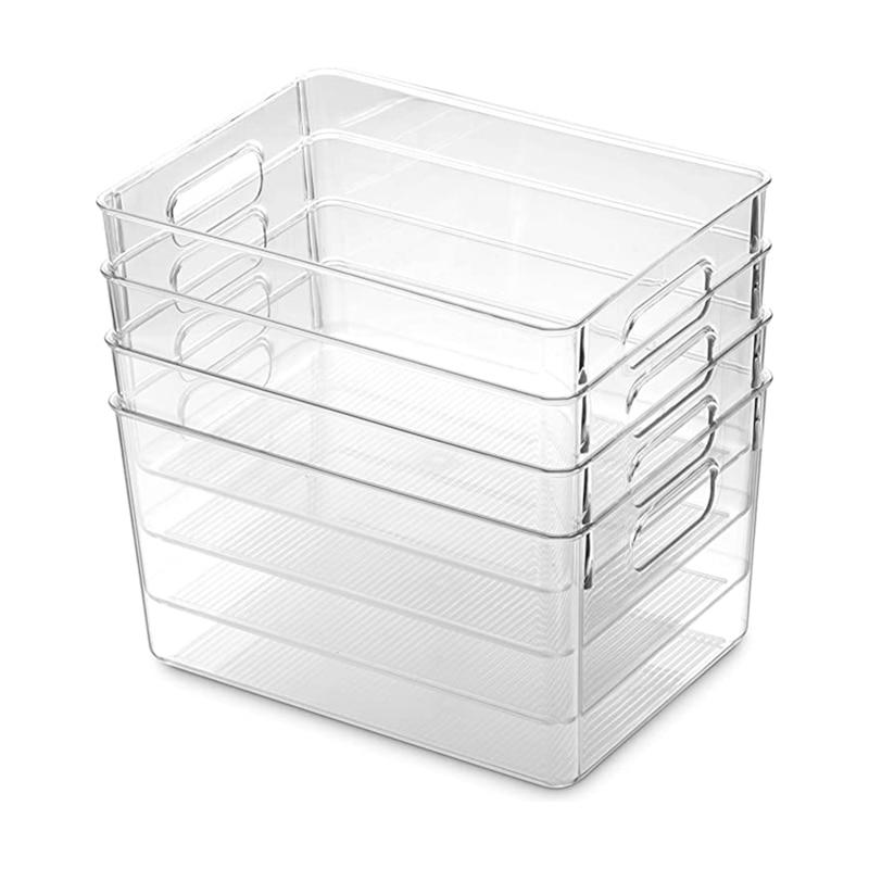 4 قطعة واضح مخزن المنظم صناديق المنزلية البلاستيك الغذاء تخزين سلة مع انقطاع مقابض للمطبخ ، كونترتوب