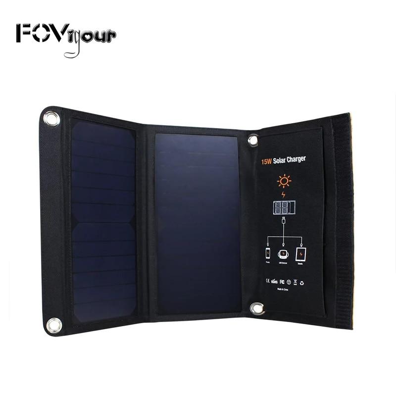 Fovigour 15 واط المحمولة شاحن للطاقة الشمسية مقاوم للماء الألواح الشمسية المزدوجة USB منافذ الطاقة الشمسية شاحن بنك الطاقة للهاتف المحمول آيفون