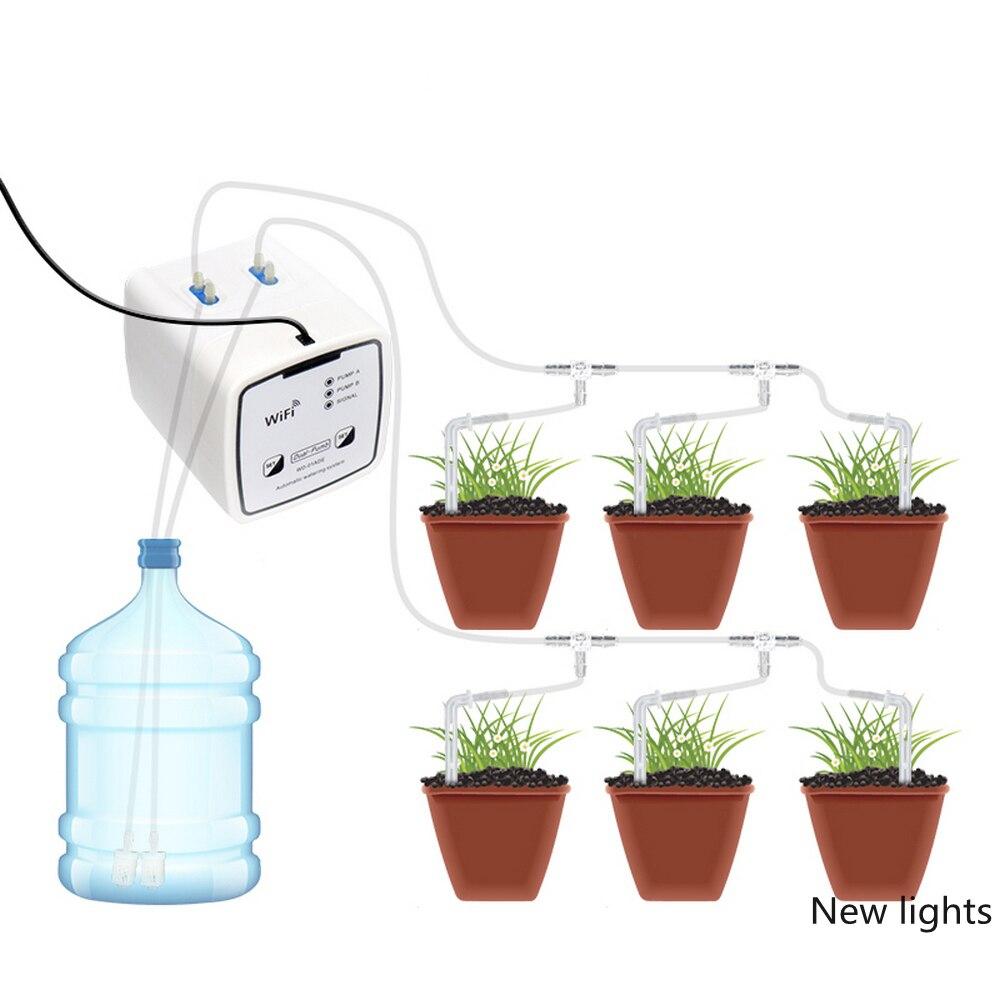 جهاز سقي ذكي يعمل بالتحكم عن بعد مع واي فاي للهاتف الخلوي ، ونظام الري بالتنقيط التلقائي ، ومؤقت مضخة المياه لنباتات الحدائق