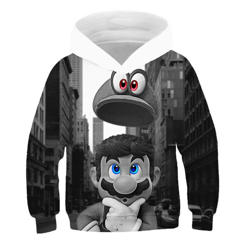 Mario children's 3D super Hooded Sweatshirt boys and girls cartoon print clothing autumn Sweatshirt fashion anime sweatshirt、 girls rainbow print sweatshirt
