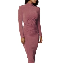 Winter Turtleneck Long Sleeved Pencil Dresses Lady Party Nightclub Skinny Hollow Out Dresses Khaki R