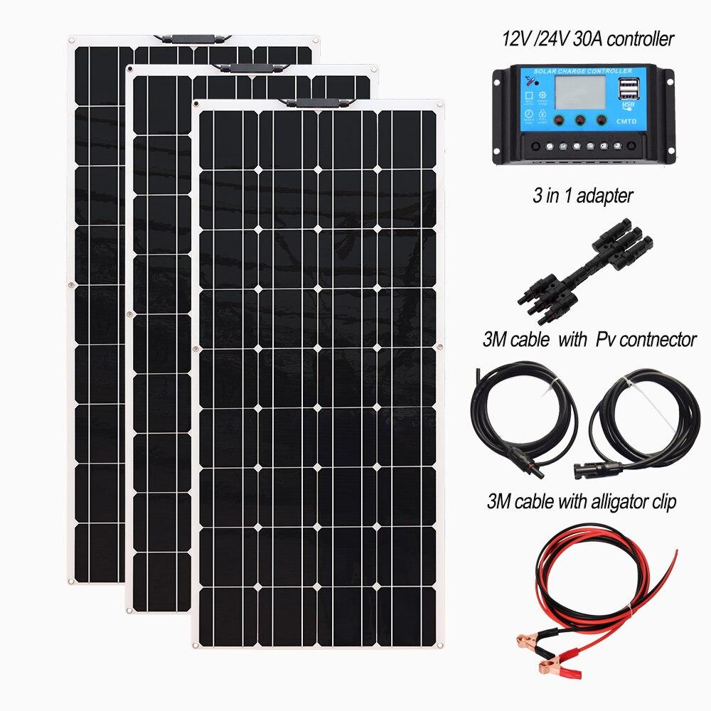 مجموعة اللوحة الشمسية 12V أو 24v مرنة وحدة 18V 120W 240w 360w 480w 600w 720w الضوئية ل متنقل البطارية الرئيسية شاحن