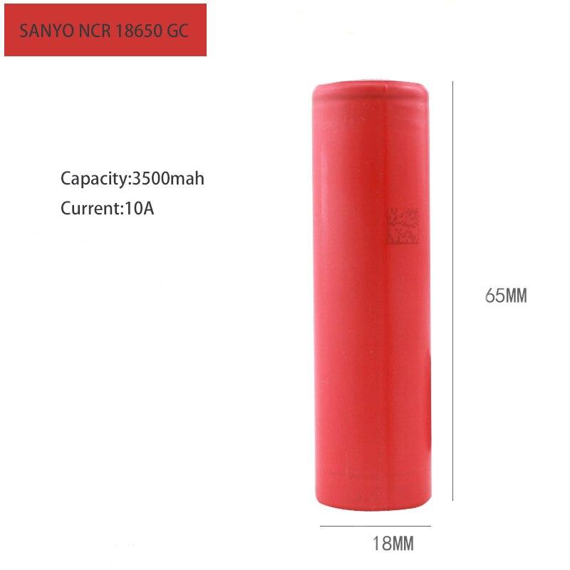 Ncr18650 bateria de íon de lítio original, 18650 mah, ga 3500 v 10a, descarga contínua para bateria elétrica sanyo ebike