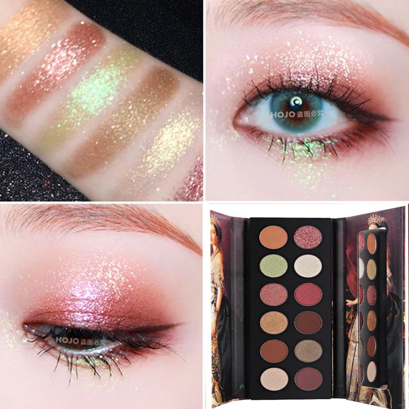 Sombra de ojos, 12 colores, Noble maquillaje sombra de ojos brillante brillo mate pigmento sombra de ojos polvo maquillaje brillo sombra de Ojo de cristal