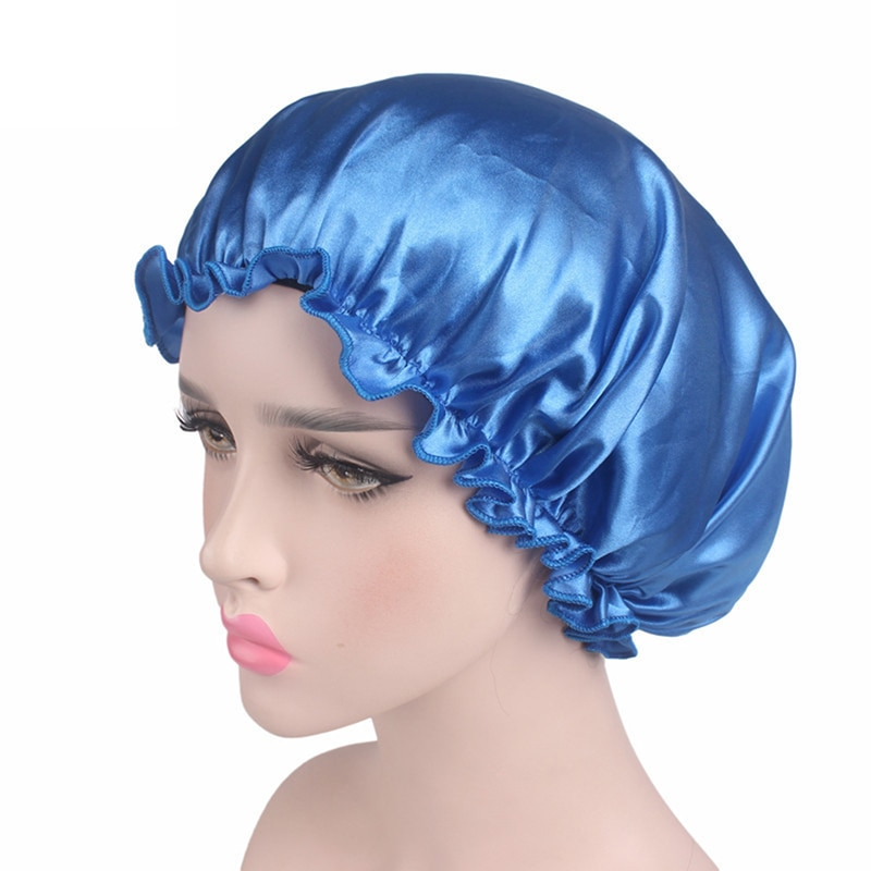 1 Piece Satin Bonnet Hair Caps Double Layer Adjust Sleep Night Cap Head Cover Hat For Curly Springy Hair Styling Accessories